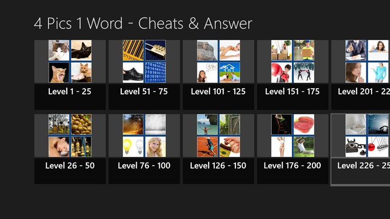 4 Pics 1 Word - Cheats and Answers for Windows 8 and 8 1
