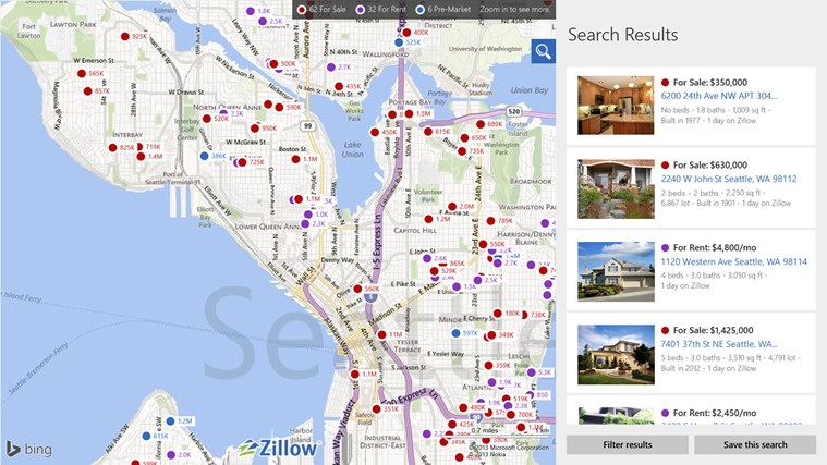 Zillow for Windows 8 and 8.1 on