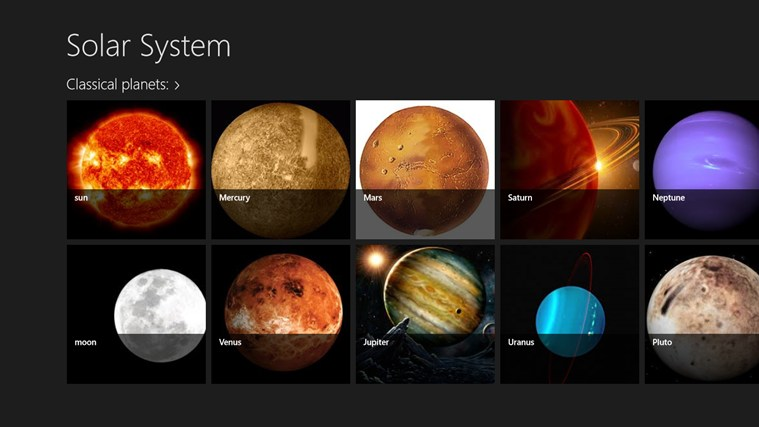planets in the universe for Windows 8 and 8.1