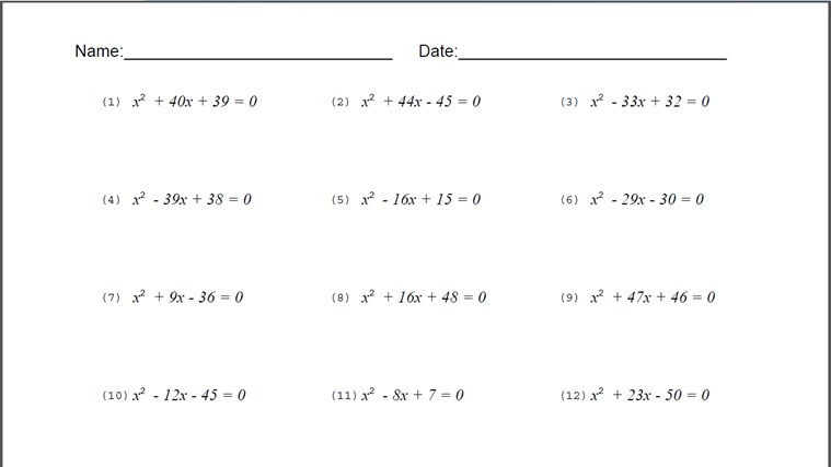 Monic Quadratic Equation Worksheet For Windows 8 And 81
