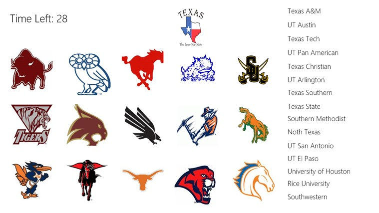 texas universities mascot matching game for windows 8 and 8 1