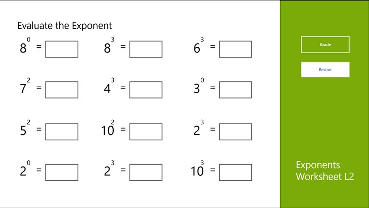 Exponents Worksheet L2 For Windows 8 And 81