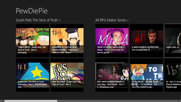 PewDiePie videos for Windows 8 and 8 1