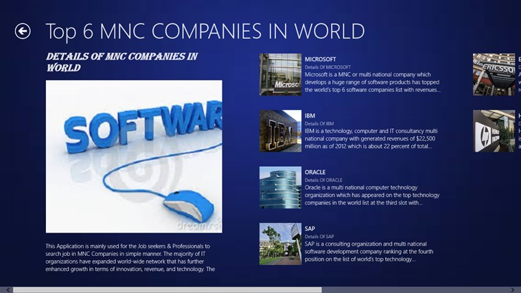 Details of Popular IT Companies for Windows 8 and 8 1