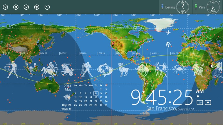 World Astro Clock Light For Windows 8 And 8 1