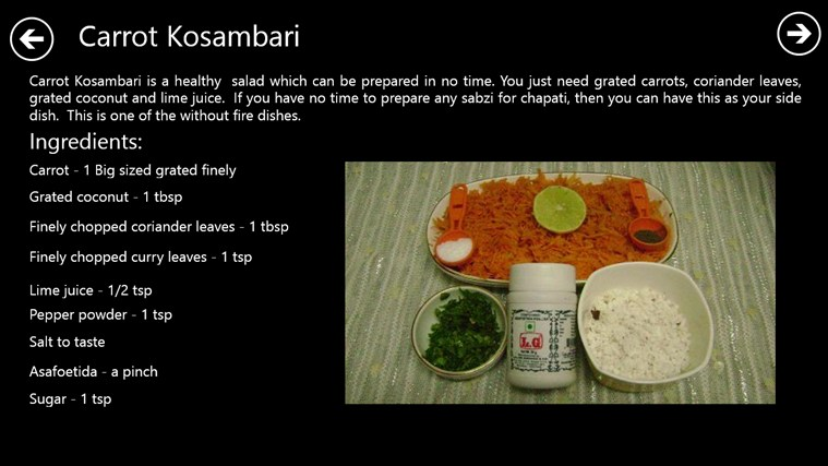 Recipes without fire for windows 8 and 81 procedure to make carrot kosamburi forumfinder Choice Image
