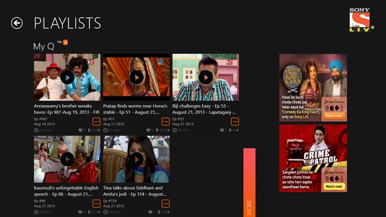 Sony LIV for Windows 8 and 8 1