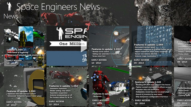 Space Engineers News for Windows 8 and 8 1
