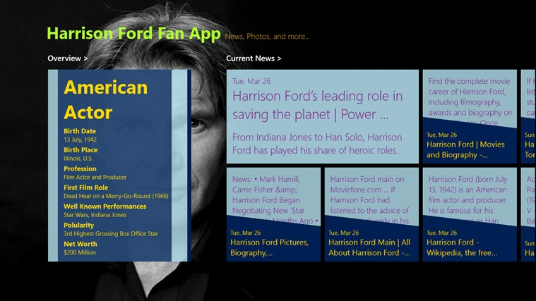 Harrison Ford - Fan Club for Windows 8 and 8 1