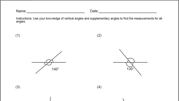 Vertical Angles Worksheet For Windows 8 And 8 1