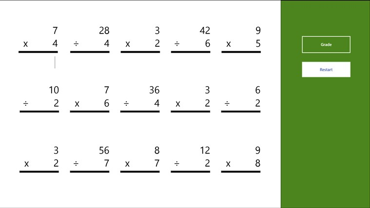 Multiplication and Division Worksheet for Windows 8 and 8.1