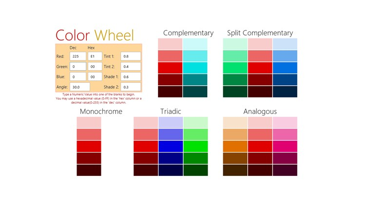 Color Wheel A Color Scheme Generator For Windows 8 And 8 1