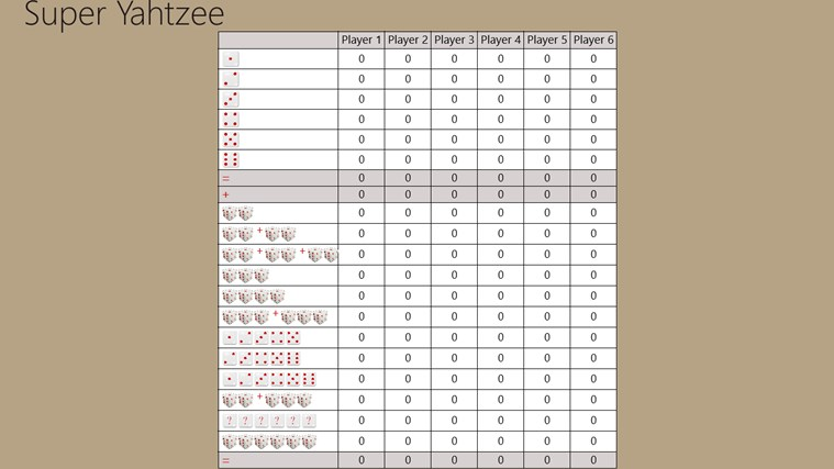 Super Yahtzee Score Cards For Windows 8 And 8 1