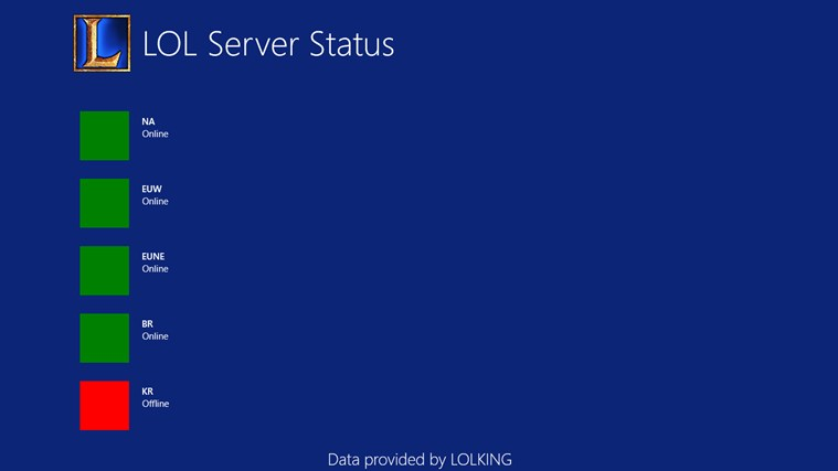 LOL Server Status for Windows 8 and 8 1