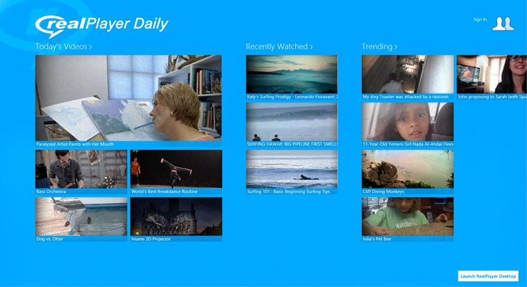 RealPlayer Daily Videos for Windows 8 and 8 1