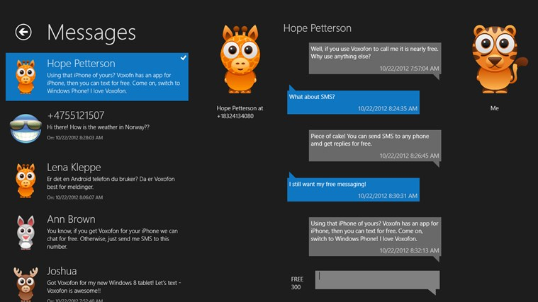 Voxofon - Text, Call, SMS for Windows 8 and 8 1