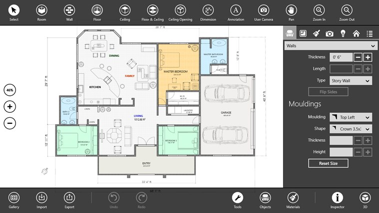 Live interior 3d pro for windows 8 and 8 1 for 2d floor plan software