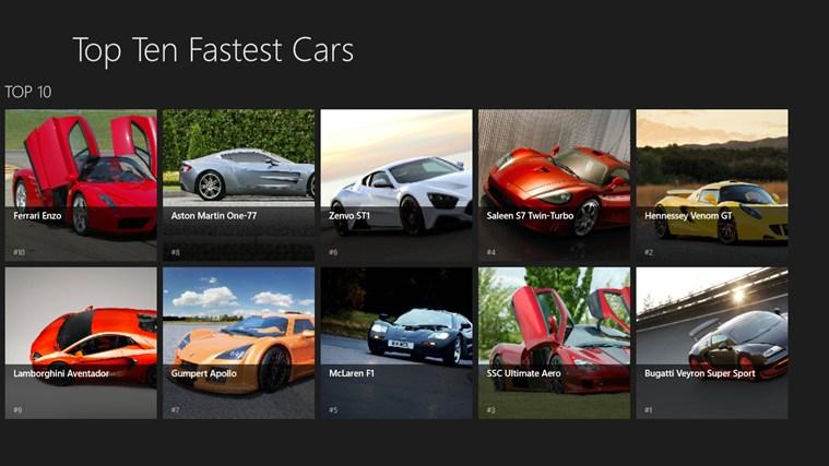 top ten fastest cars