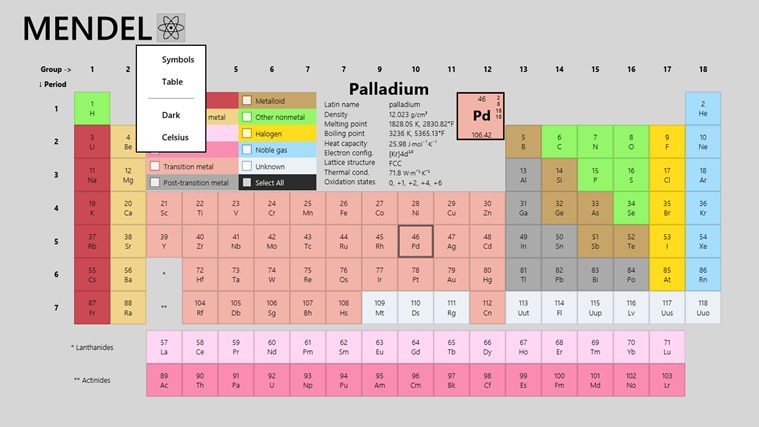 Periodic    Table      Mendel for Windows 8 and 81