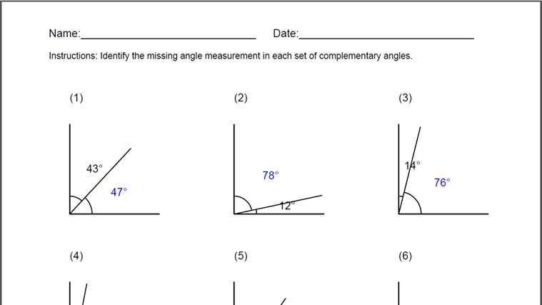 Printables Complementary And Supplementary Angles Worksheet complementary angles worksheet fireyourmentor free printable worksheets for windows 8 and 1 generated answer sheet