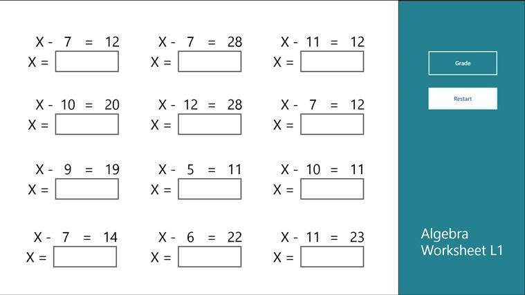 algebra worksheet l1 for windows 8 and 8 1. Black Bedroom Furniture Sets. Home Design Ideas
