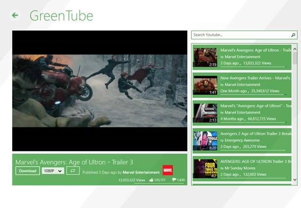 GreenTube - Youtube Video Downloader for Windows 8 and 8 1