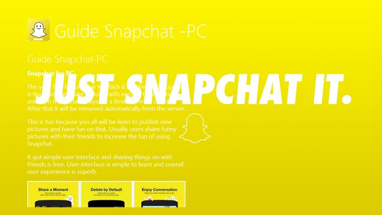Guide Snapchat -PC for Windows 8 and 8 1