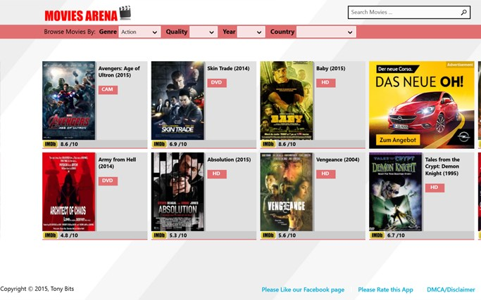 Free Movies/Arena for Windows 8 and 8 1