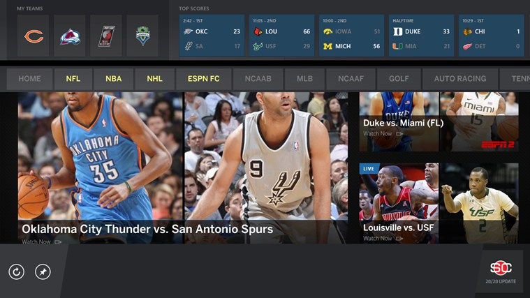 The ESPN App for Windows 8 and 8 1