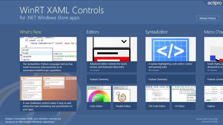 Actipro WinRT XAML Controls for Windows 8 and 8 1
