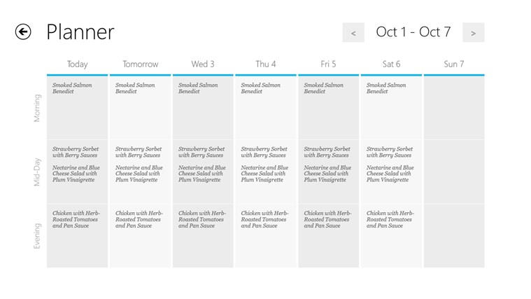 Recipe menu cooking planner for windows 8 and 8 1 for Tile planner app