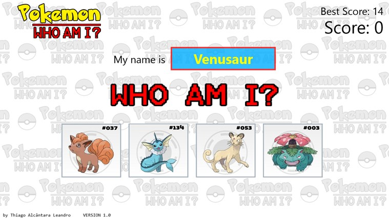 Pokemon - Who Am I? for Windows 8 and 8 1