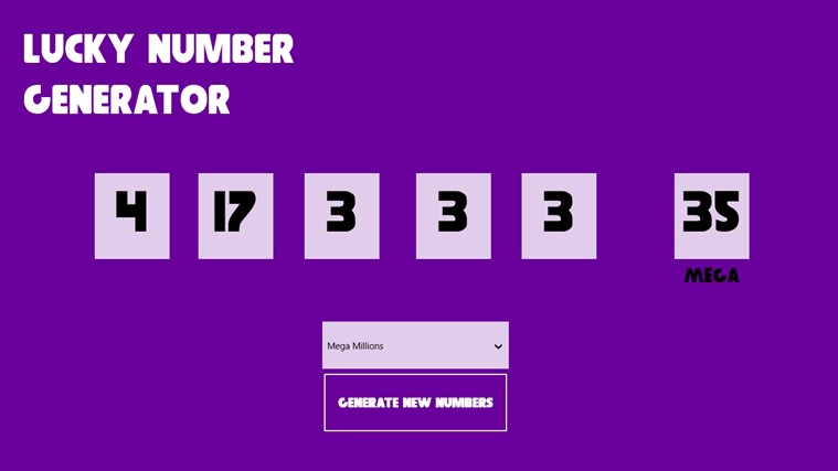 Lucky Number Generator for Windows 8 and 8 1
