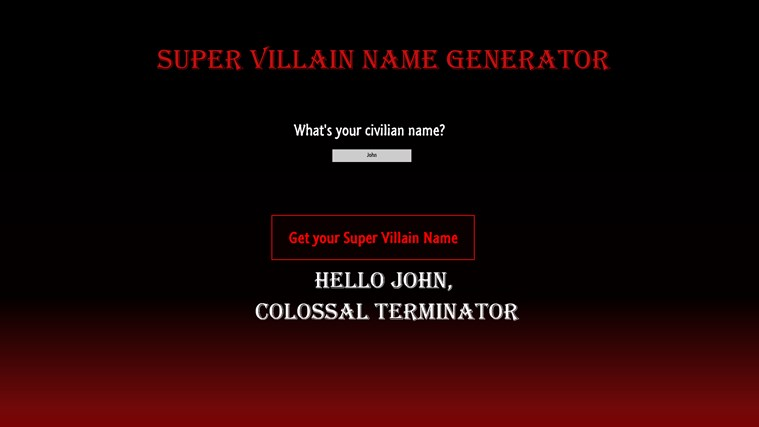 Super Villain Name Generator for Windows 8 and 8 1