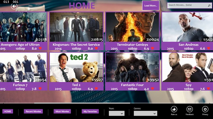 Home page with the newest movies found. On the appbar, you have the possibility to sort by years, genre etc. Search bar also