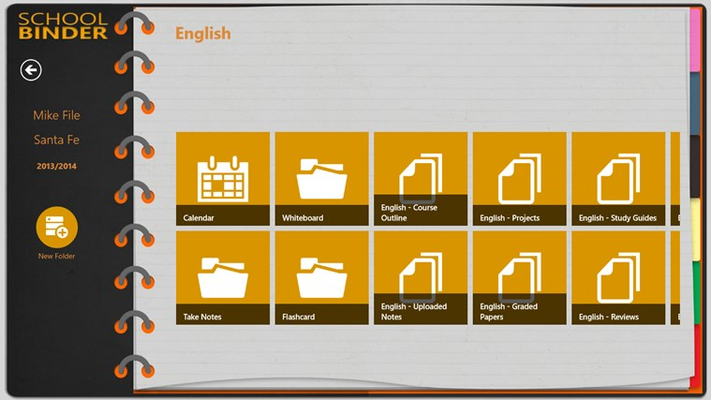Each subject has detailed  tiles to help you take & organize your notes.