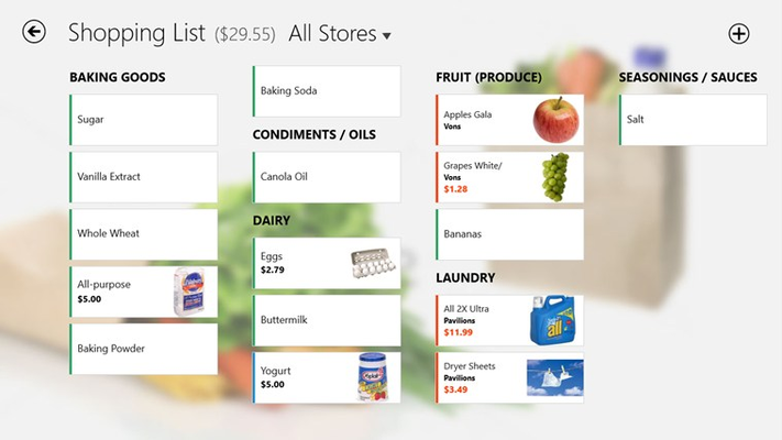Your smart shopping lists lets you see what's on sale as you create your list. Filter by list type, share lists, customize your experience, and much more.