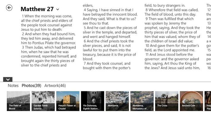 Read the Bible in the NIV or KJV translations with Photos & Artwork linked to each verse