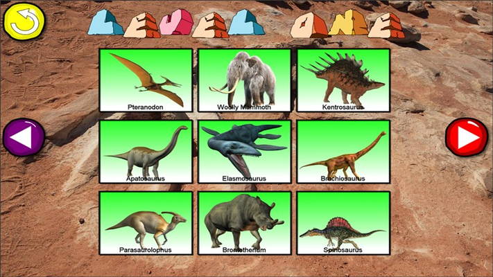 The level 1 dinosaurs selection screen (some puzzles require full version activation)