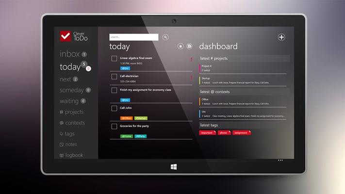 main screen with dasboard