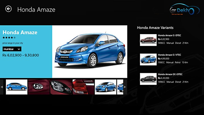 Get to know all the details of car of your choice.