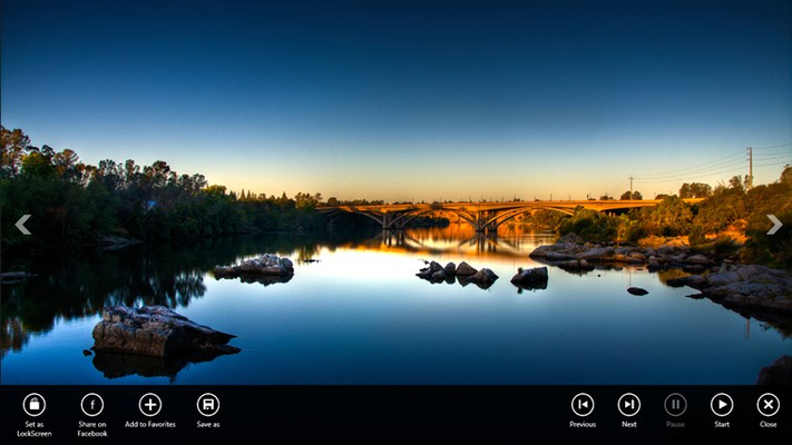 Slideshow: Show wallpaper images in fullscreen mode, user has options to start/stop slideshow, set image as Lockscreen, Share Image on Facebook or Save Image to local Hard Disk
