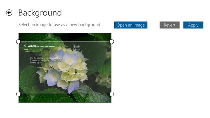 Customize your WinZip background by adding your own images.