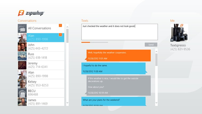 Zipwhip - Text Messaging for Windows 8