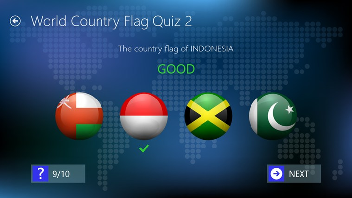 Quiz screen view when you give the correct answer