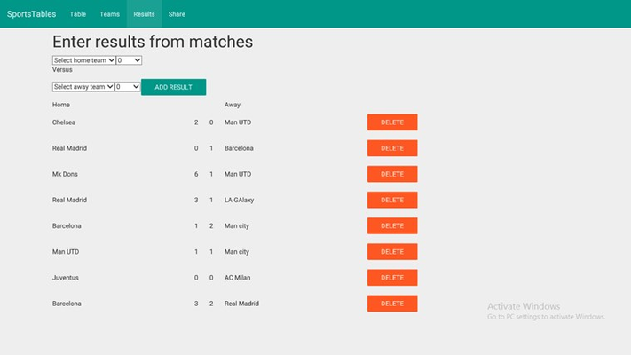 SportsTables League Manager for Windows 8