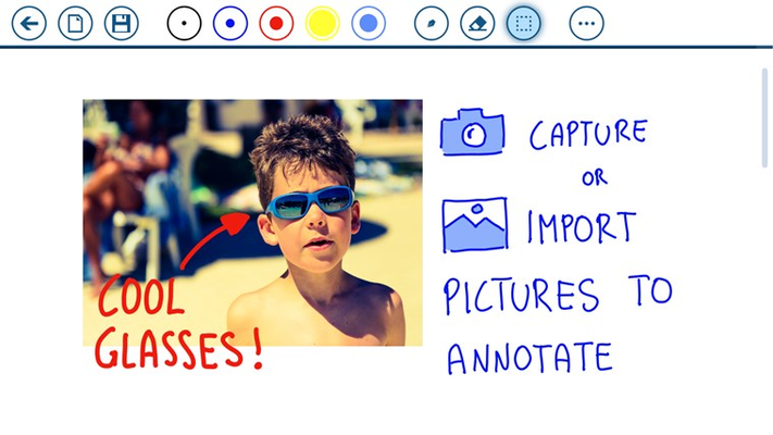 You can capture or import images to annotate