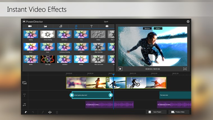 Apply amazing effects to your clips with just a touch