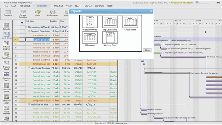 View and Print all MS Project Standard Reports