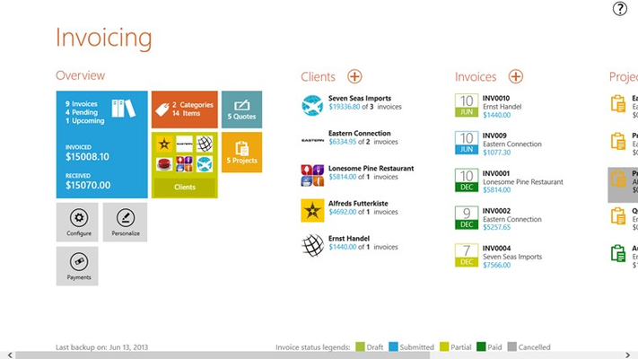Invoicing App dashboard view